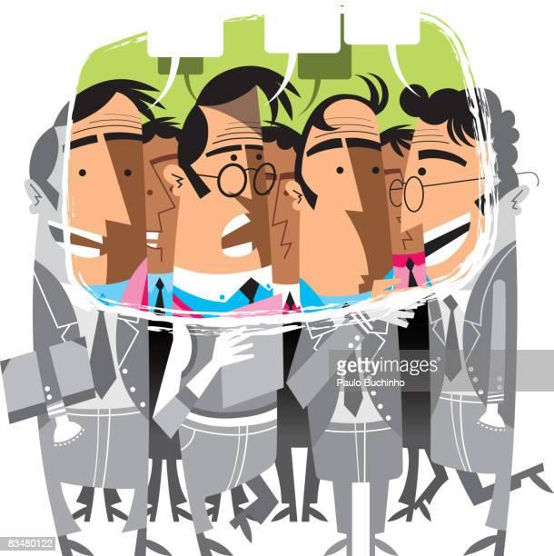 ilustrações de stock, clip art, desenhos animados e ícones de group of businessmen standing around and talking - buchinho
