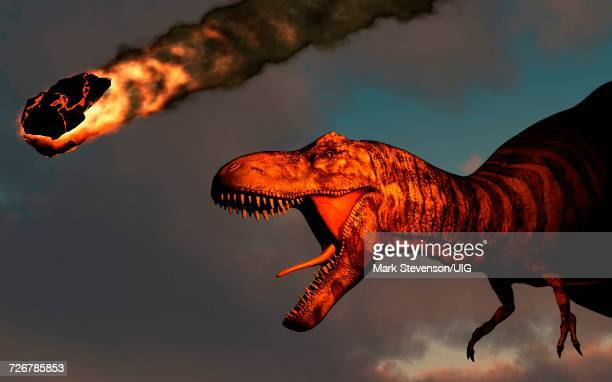 Group Of Cretaceous Dinosaurs Unaware Of Danger Falling Asteroid Is Bringing