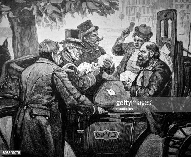 group of elderly men play cards on a carriage - 1896 - 1896 stock illustrations, clip art, cartoons, & icons