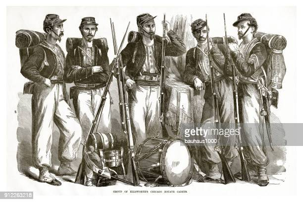 group of ellsworth's chicago zocave cadets civil war engraving - american civil war stock illustrations