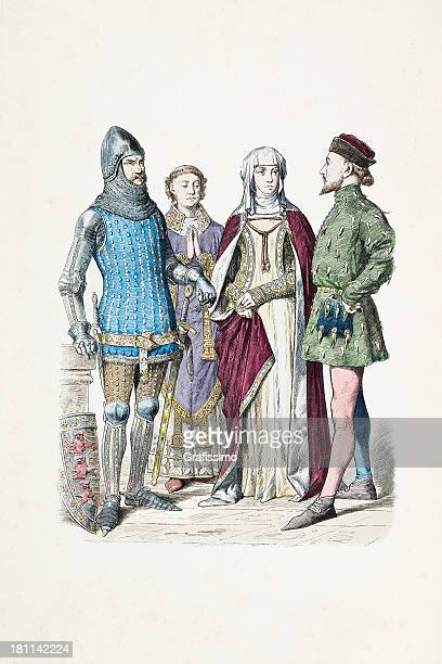 group of english knight priest and woman from 14th century - fontanges stock illustrations, clip art, cartoons, & icons