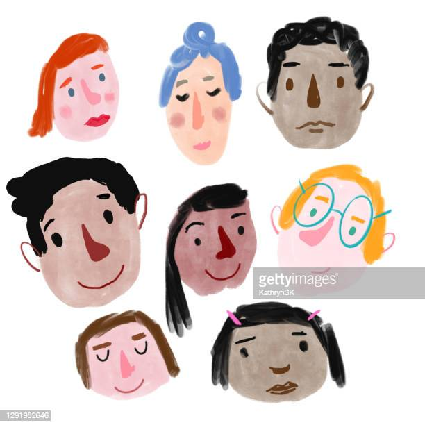 group of faces - kathrynsk stock illustrations