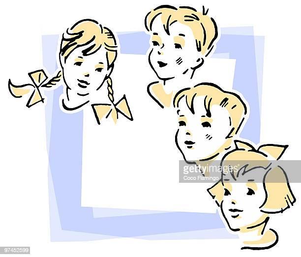 group of four children - tiziano vecellio stock illustrations, clip art, cartoons, & icons
