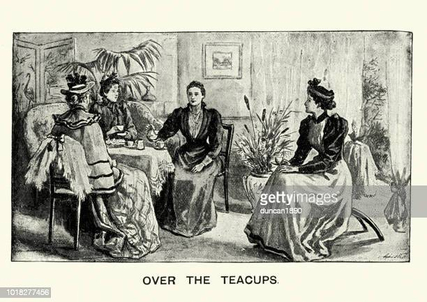 Group of friends talking over afternoon tea, 19th Century