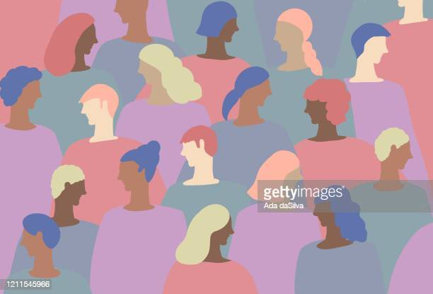 a group of funky colored people - diversity stock illustrations