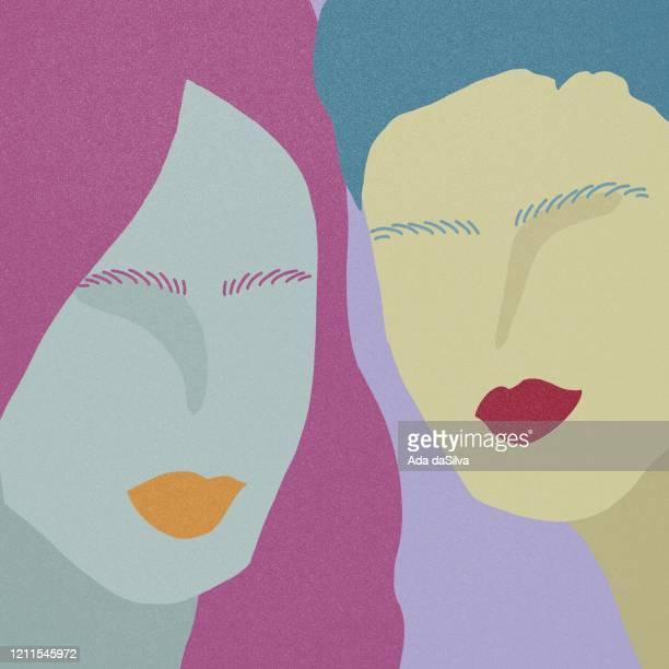 ファンキーな色の人々のグループ - 女らしさ点のイラスト素材/クリップアート素材/マンガ素材/アイコン素材
