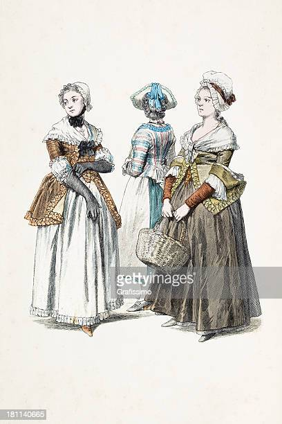 Group of german women in traditional clothing from 1770