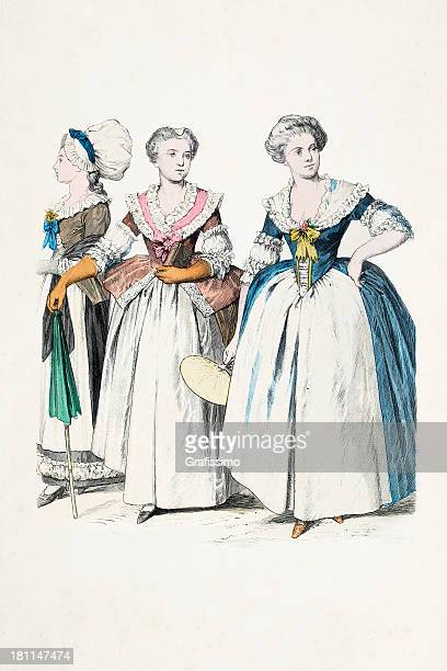 group of german women in traditional clothing from 1770 - bonnet stock illustrations, clip art, cartoons, & icons