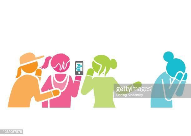 group of girls bullying girl - teasing stock illustrations, clip art, cartoons, & icons