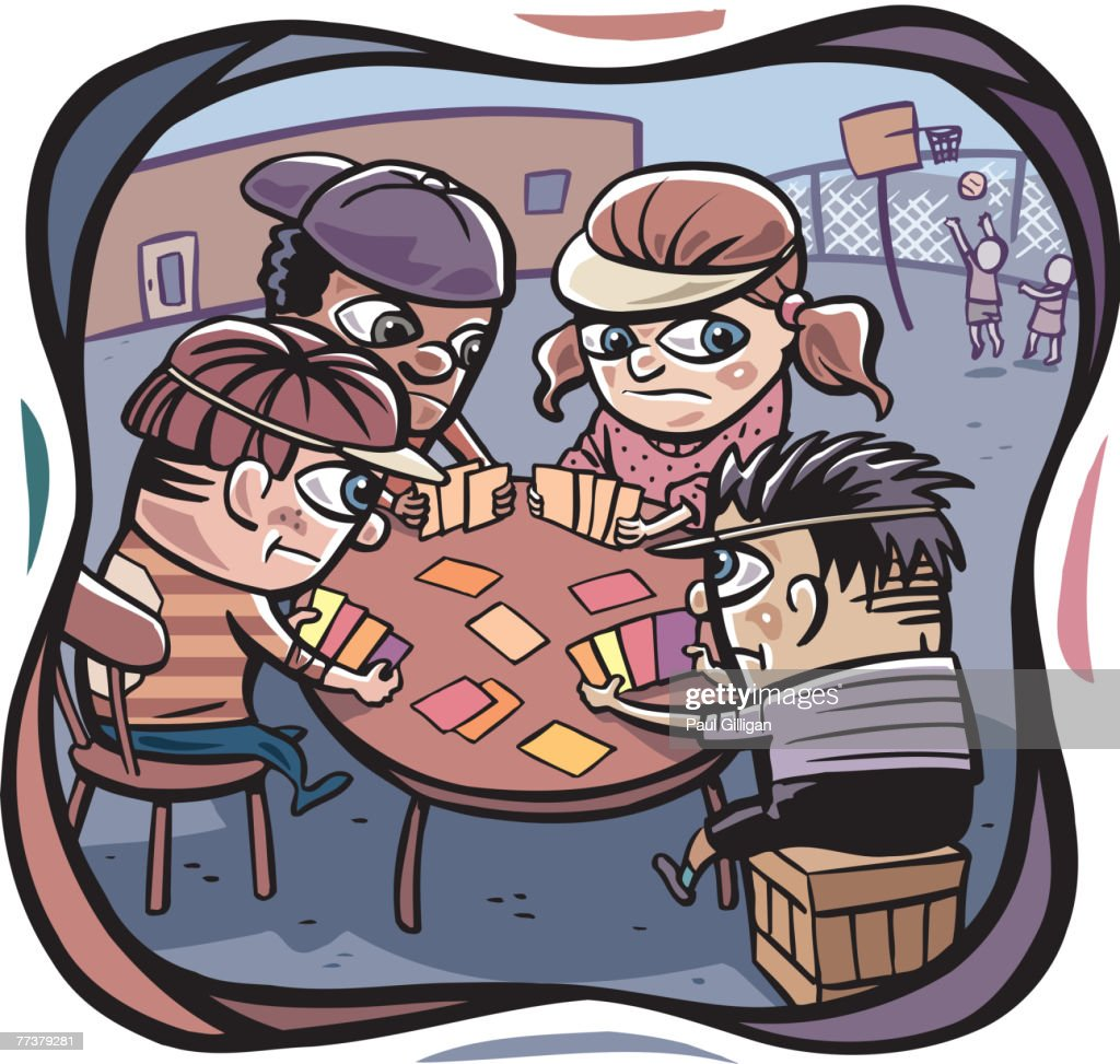 A group of kids playing poker and two kids playing basketball in the background : Illustration
