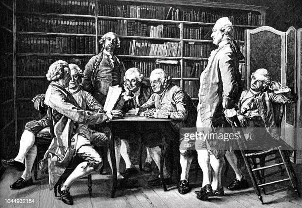 ilustrações, clipart, desenhos animados e ícones de grupo de homens discutindo na biblioteca de denis diderot - filósofo