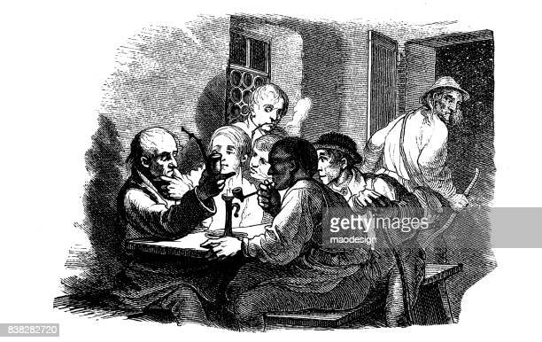 Group of men sitting at a table and smoking a pipe. An elderly man leaves the room - 1867