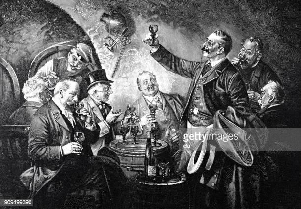 illustrazioni stock, clip art, cartoni animati e icone di tendenza di group of men sitting in restaurant, drinking wine - di archivio