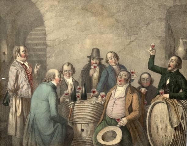 A group of men tasting wine in a cellar. Original Artwork:...