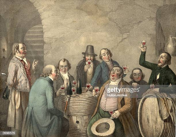 A group of men tasting wine in a cellar Original Artwork Lithograph by Jacott from a painting by JP Hasenclever