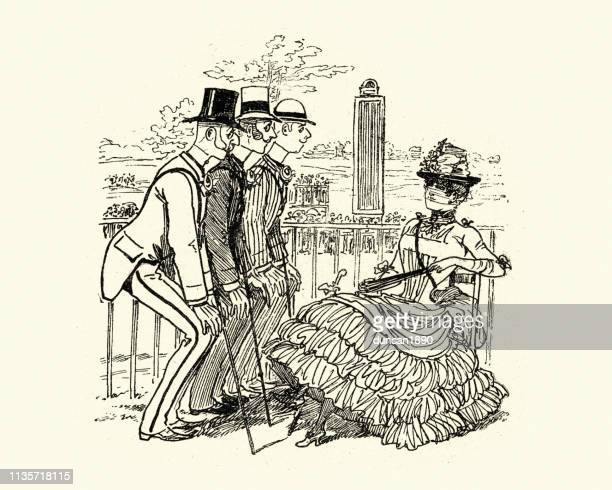 Group of men vying for woman's affection, Victorian cartoon