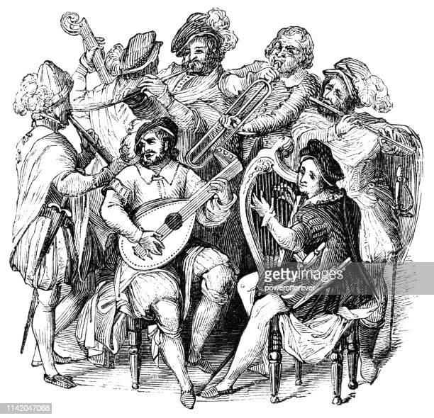 group of minstrels performing - 16th century - medieval stock illustrations