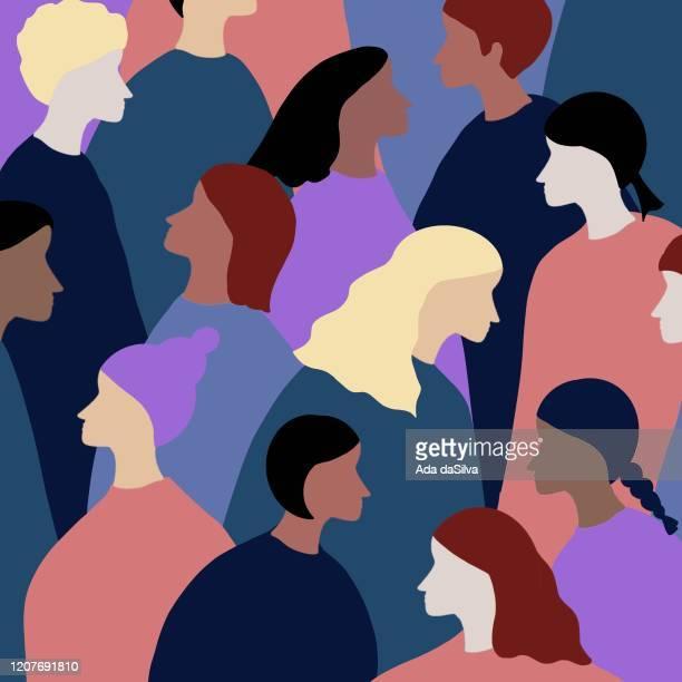 ilustrações de stock, clip art, desenhos animados e ícones de group of multi-race people - loira