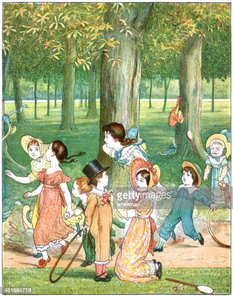 group of nineteenth century children playing in a park - 19th century stock illustrations, clip art, cartoons, & icons