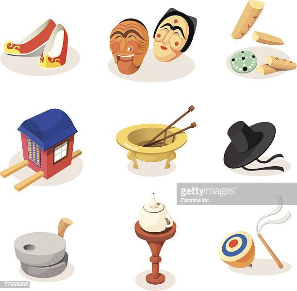 Group of objects on a white background