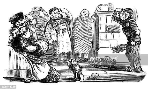 gruppe von menschen, hund und schornstein kehrmaschine klopfen an den eigenen köpfen. lustige szene - 1867 - schornsteinfeger stock-grafiken, -clipart, -cartoons und -symbole