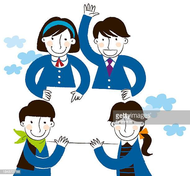 group of people holding placard - school uniform stock illustrations, clip art, cartoons, & icons