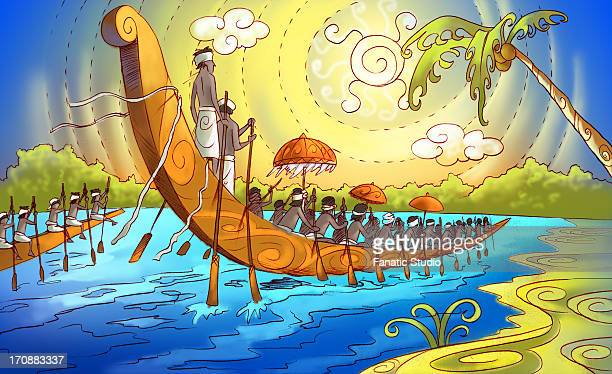 group of people participating in a snake boat racing, kerala, india - kerala stock illustrations