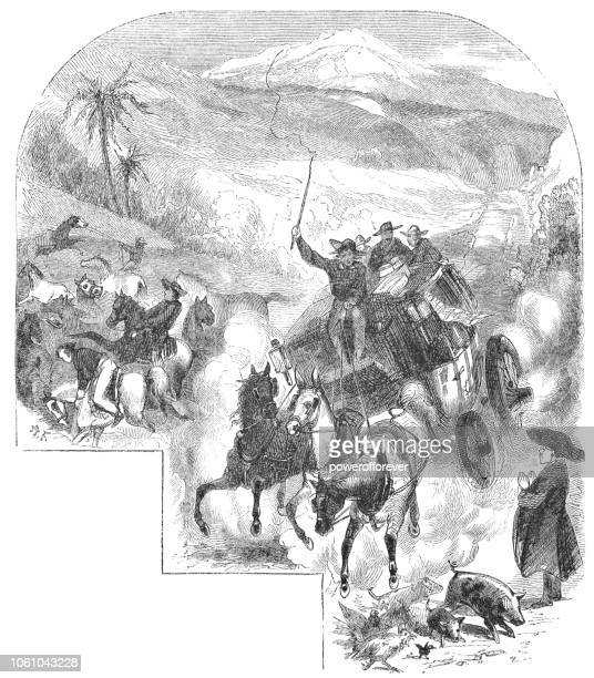 Group of People Traveling by Stagecoach through Central Valley in Costa Rica (19th Century)