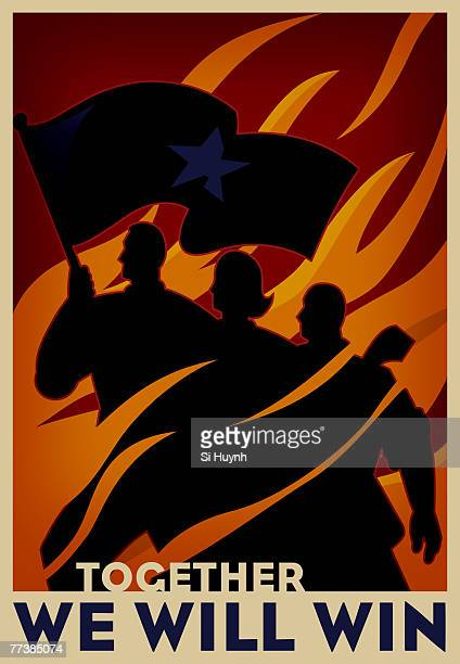 a group of people with the leader holding a flag, demostrating unity - revolution stock illustrations, clip art, cartoons, & icons