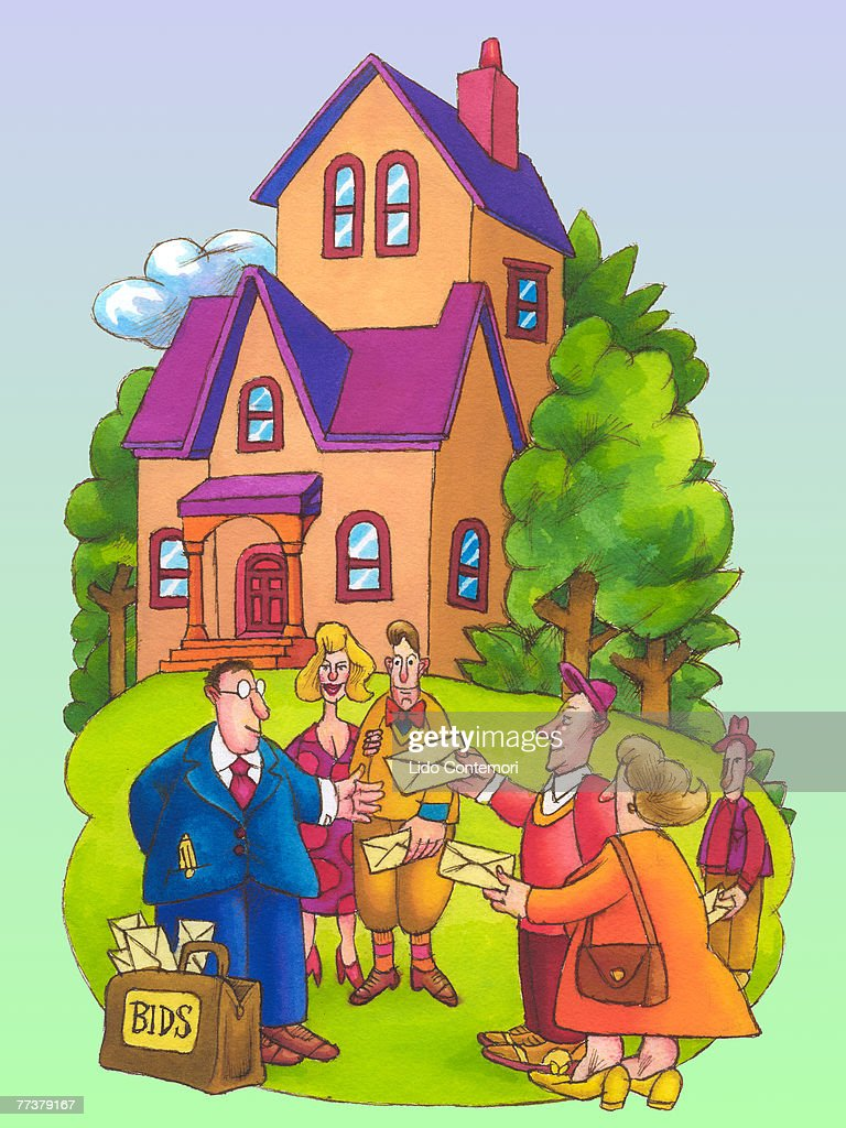 A group of potential buyers engaging in a bidding war : Illustration