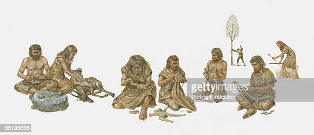 group of prehistoric people shown making and using primitive tools, including handaxes, burins, flints - prehistoric era stock illustrations