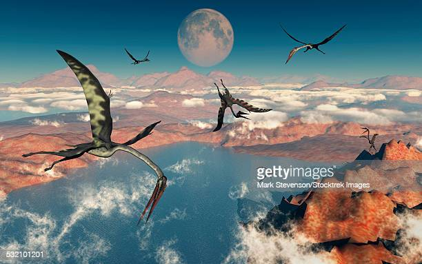 A group of Quetzalcoatlus pterosaurs during the Cretaceous Period.
