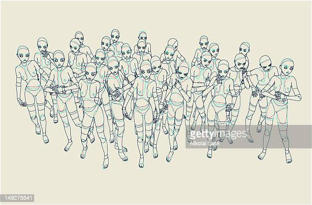 A group of robotic people