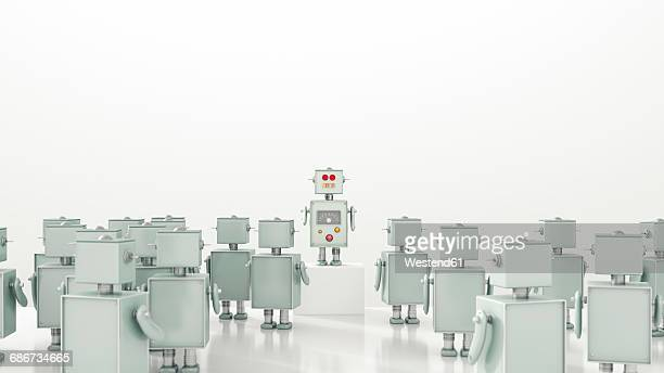 group of robots looking at leader, 3d rendering - meeting stock illustrations