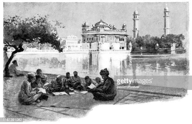 group of students at harmandir sahib golden temple in amritsar, india - british raj era 19th century - golden temple india stock illustrations