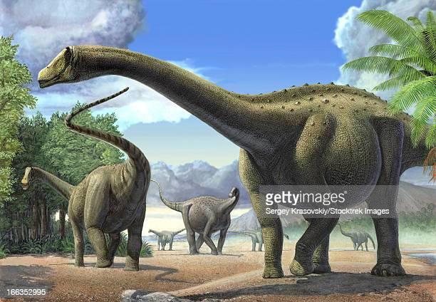 A group of Tapuiasaurus macedoi dinosaurs.