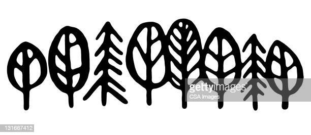 group of trees - illustration technique stock illustrations