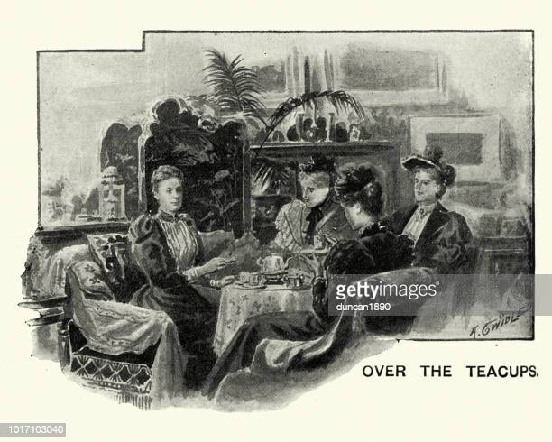 Group of Victorian women having afternnon tea, 19th Century