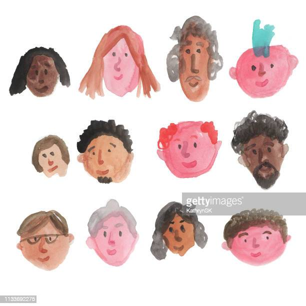 group of watercolor faces - punk person stock illustrations, clip art, cartoons, & icons