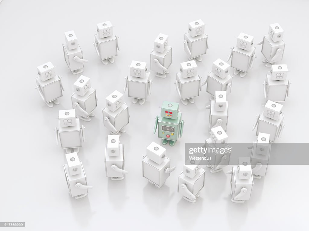 Group of white robots with a coloured one in between, 3D Rendering : stock illustration