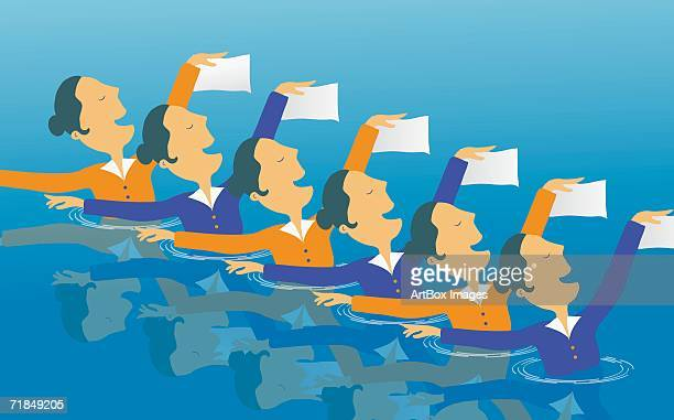stockillustraties, clipart, cartoons en iconen met group of young women doing synchronized swimming in a swimming pool - match sport