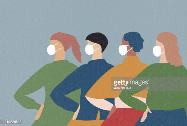 group people wearing a medical face mask from winter virus - woman wearing protective face mask stock illustrations