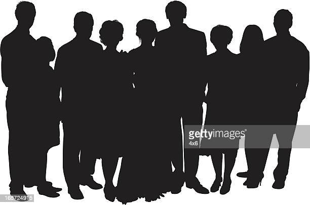 stockillustraties, clipart, cartoons en iconen met group photo with the bride and groom - heteroseksueel koppel