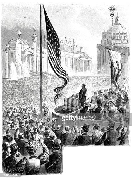 illustrations, cliparts, dessins animés et icônes de grover cleveland, le président américain, s'ouvre l'exposition universelle de chicago avec un bouton électrique - applauding