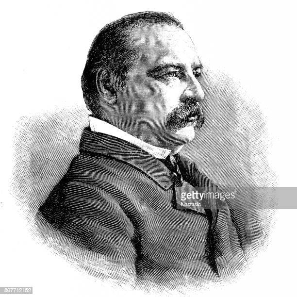 grover cleveland, engraved portrait of president - president stock illustrations, clip art, cartoons, & icons