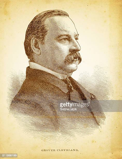 grover cleveland engraving illustration - president stock illustrations, clip art, cartoons, & icons