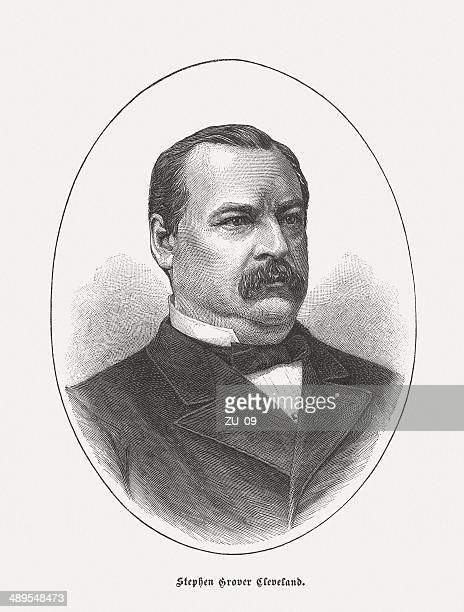 grover cleveland (1837-1908, 22th and 24th us-president), published in 1884 - northeastern england stock illustrations, clip art, cartoons, & icons