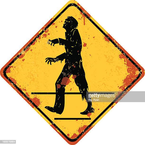 gruesome zombie xing - zombie stock illustrations, clip art, cartoons, & icons