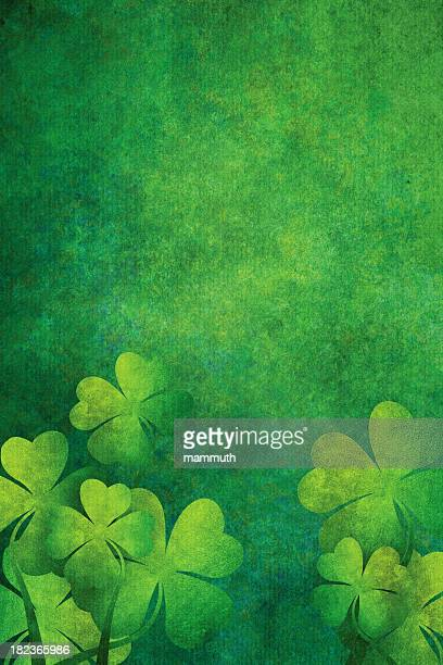 grunge background with four leaf clovers - st. patrick's day stock illustrations, clip art, cartoons, & icons
