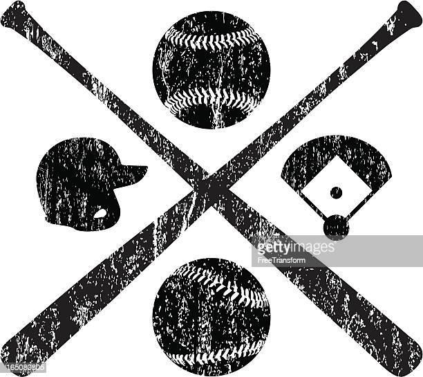 grunge baseball elements - baseball bat stock illustrations, clip art, cartoons, & icons